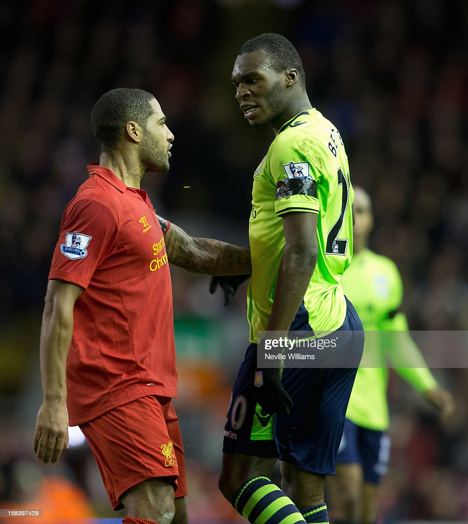 Christain Benteke of Aston Villa challenges <a gi-track='captionPersonalityLinkClicked' href=/galleries/search?phrase=Glen+Johnson&family=editorial&specificpeople=209192 ng-click='$event.stopPropagation()'>Glen Johnson</a> of Liverpool during the Barclays Premier League match between Liverpool and Aston Villa at Anfield on December 15, 2012 in Liverpool, England.
