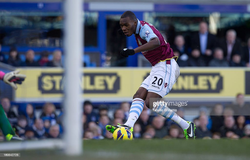 Christain Benteke of Aston Villa scores his goal for Aston Villa during the Barclays Premier League match between Everton and Aston Villa at Goodison Park on February 02, 2013 in Liverpool, England.