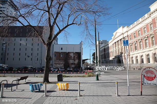 Christchurch city center view around cathedral square in Winter