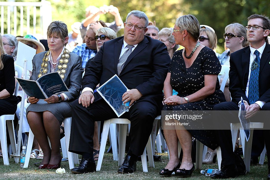 Christchurch Mayor Lianne Dalziel, Earthquake Recovery Minister Gerry Brownlee and Labour MP Ruth Dyson during a Civic Memorial Service held in the Botanical Gardens for victims of the 2011 Christchurch Earthquakes on February 22, 2014 in Christchurch, New Zealand. The earthquake measuring 6.3 in magnistude devastated Christchurch killing 185 people and causing an estimated $40 billion in damage to the city's buildings and infrastructure.