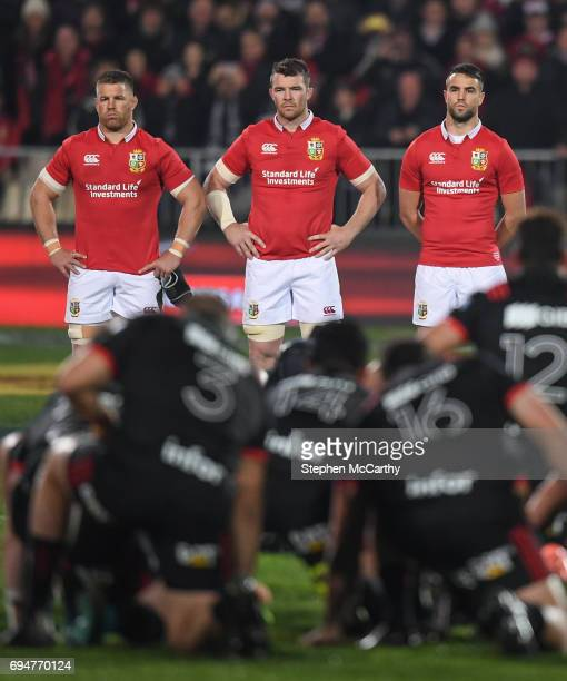Christchurch New Zealand 10 June 2017 British and Irish Lions players from left Sean O'Brien Peter O'Mahony and Conor Murray face the Crusaders haka...