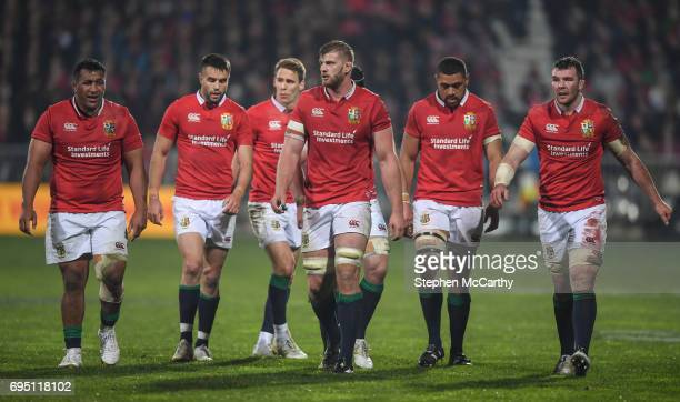 Christchurch New Zealand 10 June 2017 British and Irish Lions players from left Mako Vunipola Conor Murray Liam Williams George Kruis Taulupe Faletau...