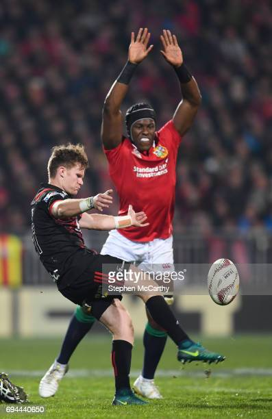 Christchurch New Zealand 10 June 2017 George Bridge of Crusaders in action against Maro Itoje of the British Irish Lions during the match between...