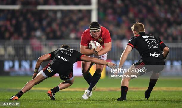 Christchurch New Zealand 10 June 2017 Jamie George of the British Irish Lions in action against David Havili left and Jack Goodhue of Crusaders...