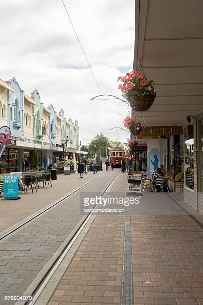 Christchurch, New Zealand: Cafes, restaurants and tramway on Regent street