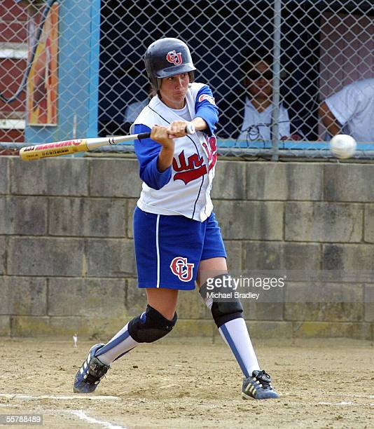 Christchurch United Amanda Curry has her eyes locked on the ball as she swings for the pitch during the New Zealand National Womens Softball Open...