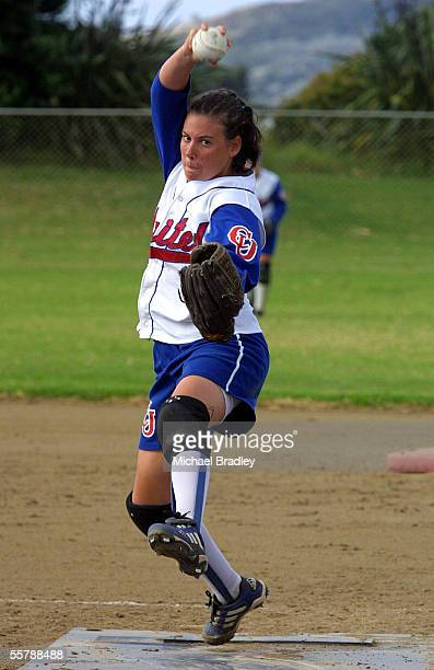 Christchurch United pitcher Amanda Curry looks to unleash another pitch during the New Zealand National Womens Softball Open final between Poneke...