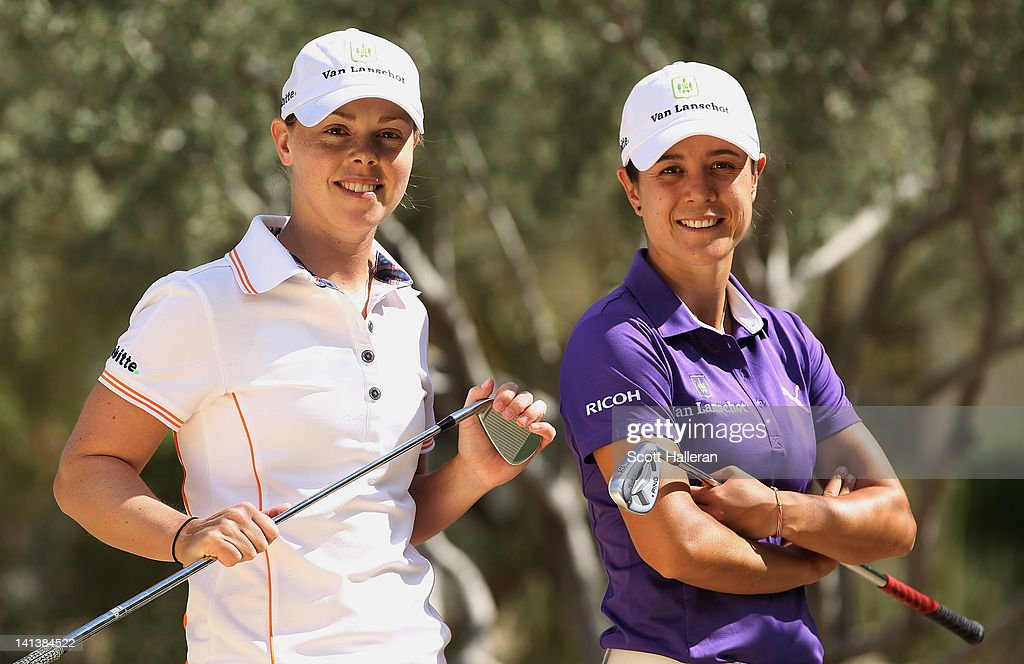 Christel Boeljon and Dewi Claire Schreefel of the Netherlands pose prior to the start of the RR Donnelley LPGA Founders Cup at the JW Marriott Desert...