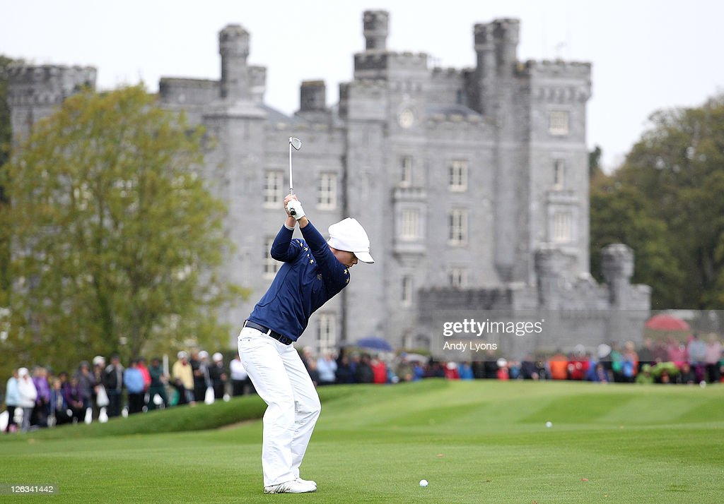 Christel Boeljon of Europe hits her 2nd shot on the 3rd hole during the singles matches on day three of the 2011 Solheim Cup at Killeen Castle Golf...
