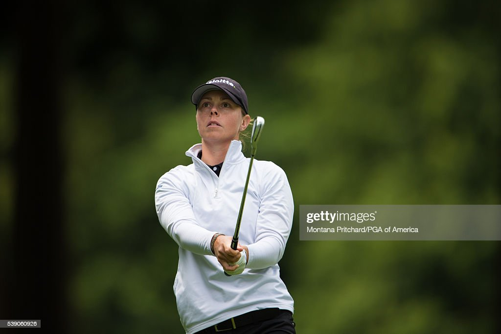 Christel Boeljon of Netherlands hits her shot on the 17th hole during the first round of the 2016 KPMG Women's PGA Championship at the Sahalee...