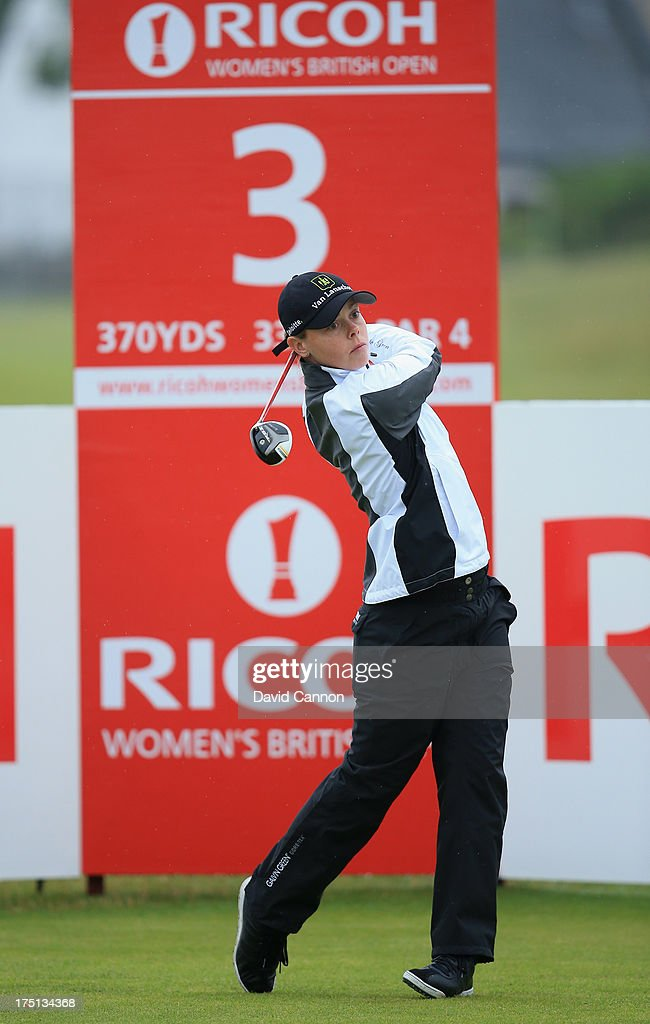 Christel Boeljon of the Netherlands d tees off on the 3rd during the first round of the Ricoh Women's British Open at the Old Course St Andrews on...