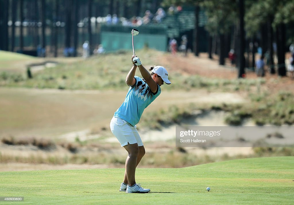 Christel Boeljon of The Netherlands hits a shot on the eighth tee during the second round of the 69th US Women's Open at Pinehurst Resort Country...