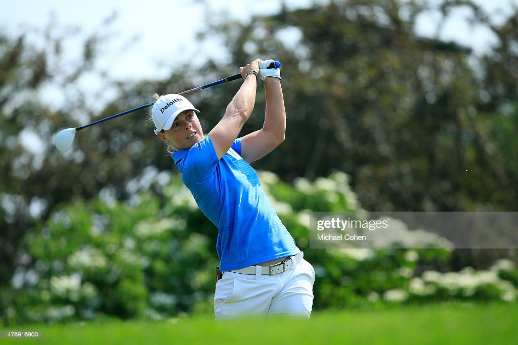 Christel Boeljon of the Neterlands hits her drive on the 11th hole during the second round of the KPMG Women's PGA Championship held at Westchester...