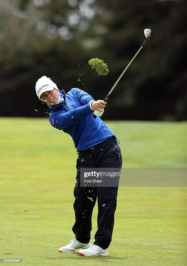 Christel Boeljon of the Netherlands hits her second shot on the second hole during round two of the Swinging Skirts LPGA Classic at Lake Merced Golf...