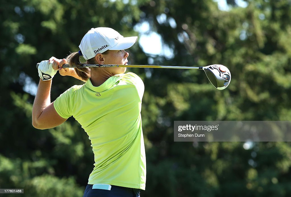Christel Boeljon of The Netherlands hits her tee shot on the 16th hole during the third round of the CN Canadian Women's Open at Royal Mayfair Golf...