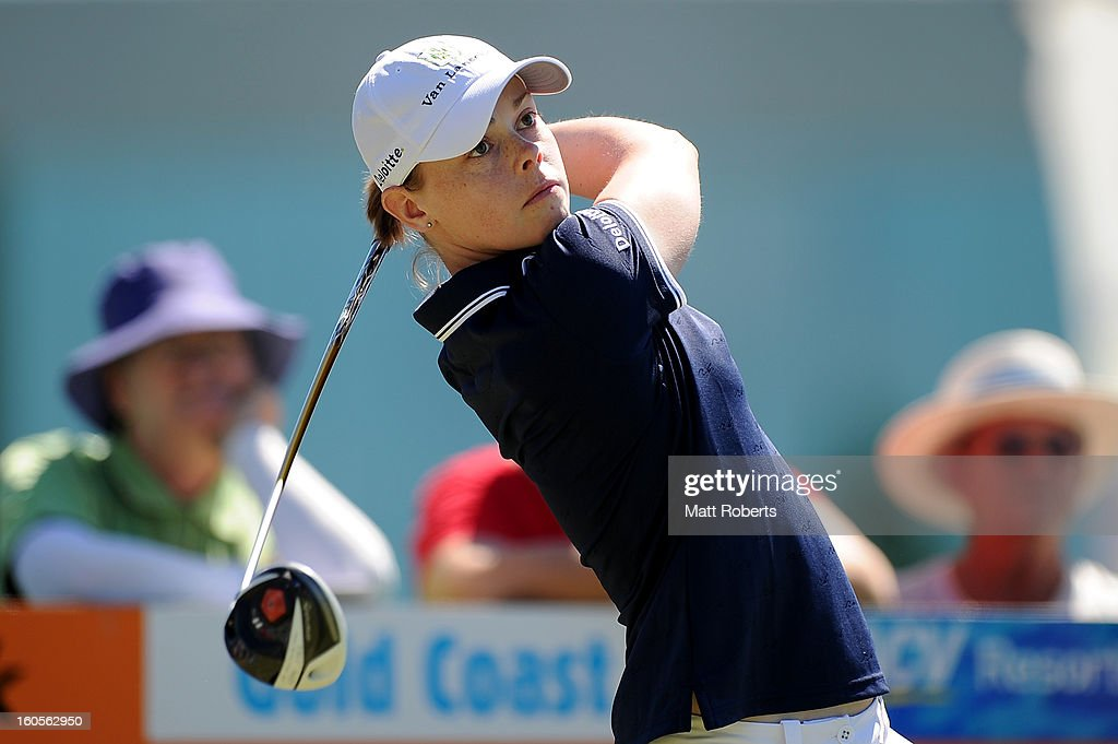 Christel Boeljon of the Netherlands plays her tee shot on the first hole during the Australian Ladies Masters at Royal Pines Resort on February 3, 2013 on the Gold Coast, Australia.