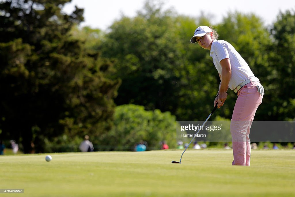 Christel Boeljon of the Netherlands putts on the 15th hole during the final round of the ShopRite LPGA Classic presented by Acer on the Bay Course at...