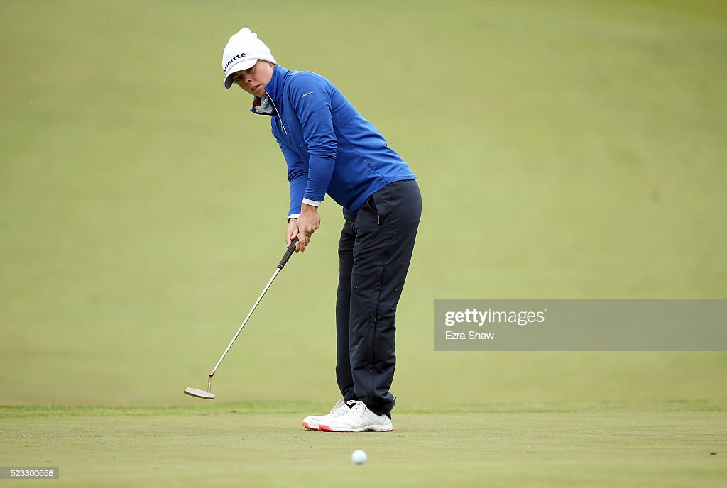 Christel Boeljon of the Netherlands putts on the second hole during round two of the Swinging Skirts LPGA Classic at Lake Merced Golf Club on April...