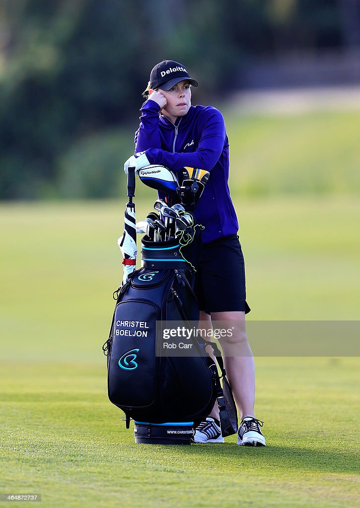 Christel Boeljon of the Netherlands waits to hit on the seventh hole during round two of the Pure Silk Bahamas LPGA Classic at the Ocean Club course...