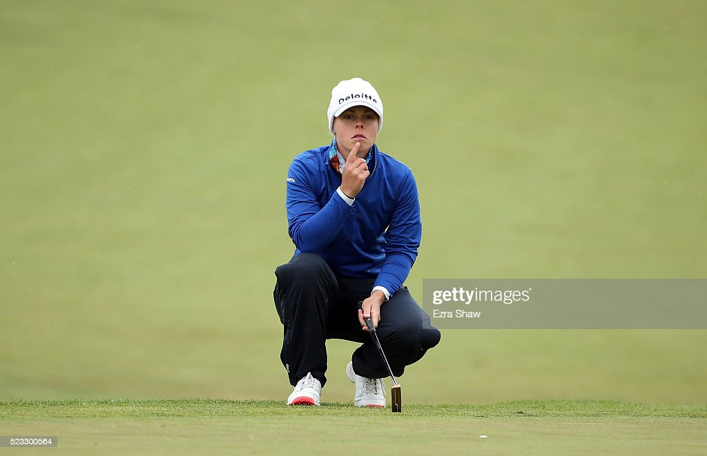 Christel Boeljon of the Netherlands waits to putt on the second hole during round two of the Swinging Skirts LPGA Classic at Lake Merced Golf Club on...