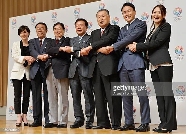 Christel Takigawa Toshiaki Yoshino Masato Mizuno Naoki Inose Yoshiro Mori Yuki Ota and Mami Sato pose for the media during Tokyo 2020 Bid Committee's...
