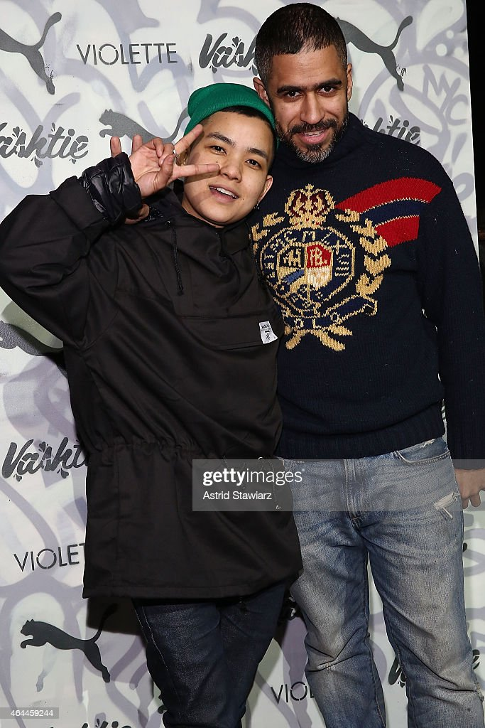 Christelle de Castro and Oscar Sanchez attend the Vashtie x Puma Fashion Show And Launch Party at Webster Hall on February 25, 2015 in New York City.