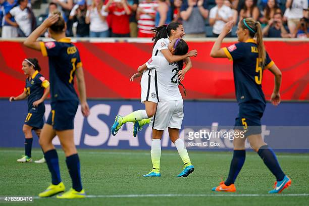 Christen Press celebrates with Sydney Leroux of United States after Press scores a second half goal against Australia during the FIFA Women's World...