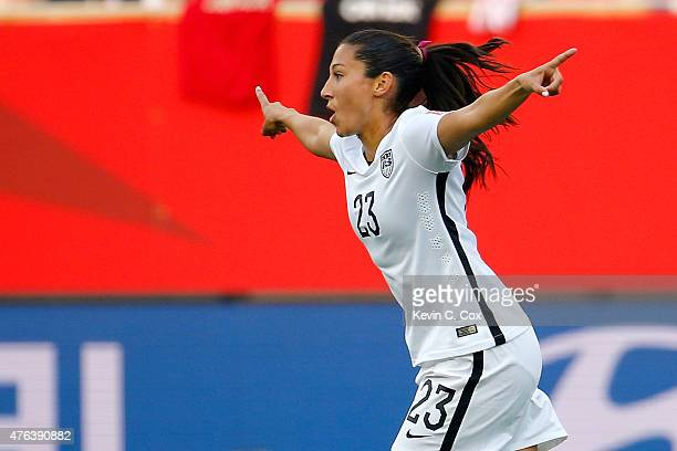 Christen Press of the United States celebraes after Pess scores a second half goal against Australia during the FIFA Women's World Cup 2015 Group D...