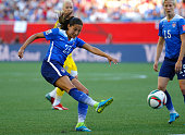 Christen Press of the United States of America against Sweden during the FIFA Women's World Cup Canada 2015 match between USA and Sweden at Winnipeg...