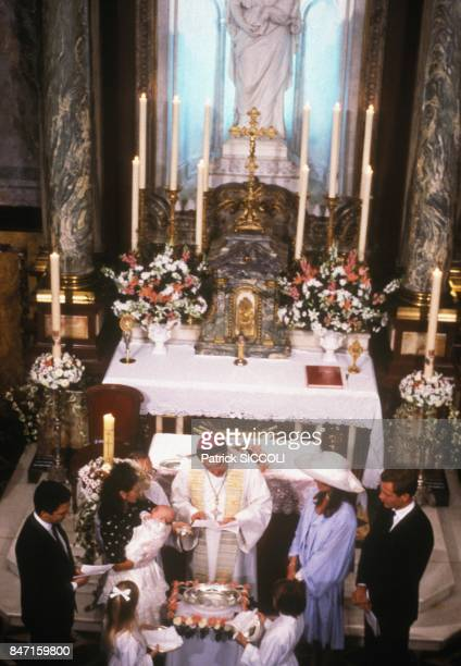 Christening of Charlotte Casiraghi daughter of Princess Caroline of Monaco and Stefano Casiraghi on September 21 1986 in Monaco