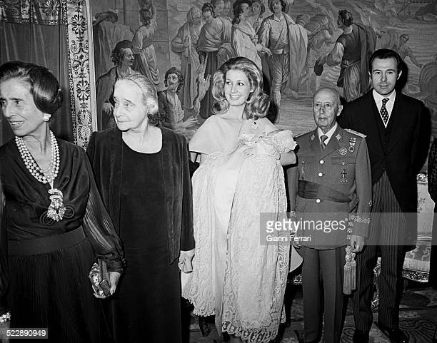 Christening of Luis Allfonso second son of Alfonso of Borbon and Carmen Martinez Bordiu with the presence of Francisco Franco and his wife Carmen...