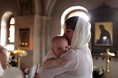 Christening of baby in russian orthodox church