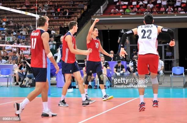 Christenson Micah Shoji Erik reacts during the FIVB World League 2017 match between Iran and USA at Arena Spodek on June 15 2017 in Katowice Poland