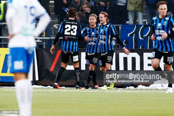 Christer Gustafsson celebrates after scoring 02 during the Allsvenskan match between IFK Norrkoping and IF Sirius FK at Ostgotaporten on April 17...
