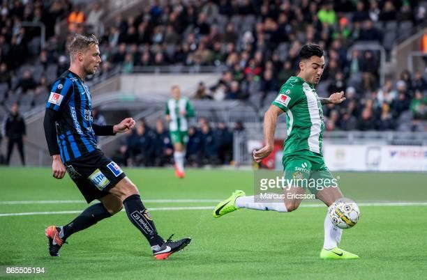 Christer Gustafsson of IK Sirius FK and Jiloan Hamad of Hammarby IF during the Allsvenskan match between Hammarby IF and IK Sirius FK at Tele2 Arena...