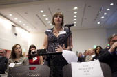 Christi Turnage a breast cancer patient testifies in favor of Avastin during a Food and Drug Administration hearing in Silver Spring Maryland US on...