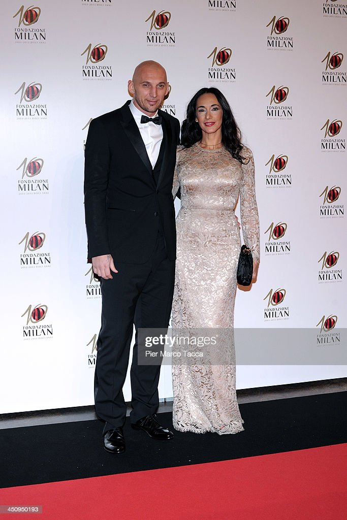 <a gi-track='captionPersonalityLinkClicked' href=/galleries/search?phrase=Christian+Abbiati&family=editorial&specificpeople=2158791 ng-click='$event.stopPropagation()'>Christian Abbiati</a> and Stefania Abbiati attend the Fondazione Milan 10th Anniversary Gala photocall on November 20, 2013 in Milan, Italy.