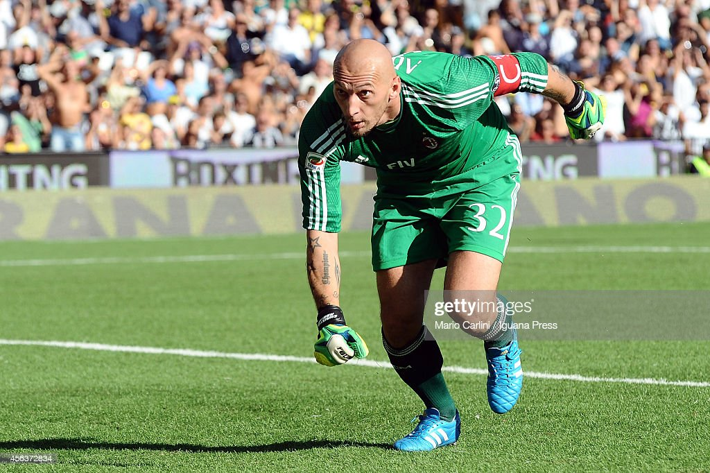 <a gi-track='captionPersonalityLinkClicked' href=/galleries/search?phrase=Christian+Abbiati&family=editorial&specificpeople=2158791 ng-click='$event.stopPropagation()'>Christian Abbiati</a> goalkeeper of AC Milan looks on during the Serie A match between AC Cesena and AC Milan at Dino Manuzzi Stadium on September 28, 2014 in Cesena, Italy.