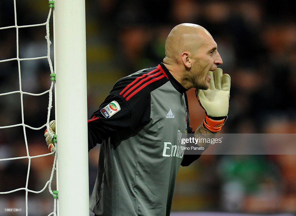 <a gi-track='captionPersonalityLinkClicked' href=/galleries/search?phrase=Christian+Abbiati&family=editorial&specificpeople=2158791 ng-click='$event.stopPropagation()'>Christian Abbiati</a>, goalkeeper of AC Milan reacts during the Serie A match between AC Milan and AC Chievo Verona at San Siro Stadium on November 3, 2012 in Milan, Italy.