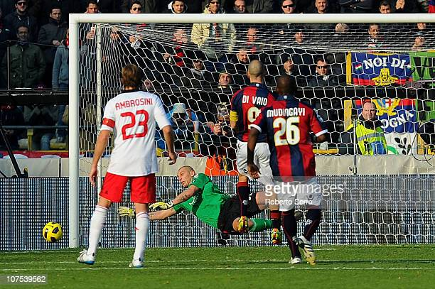 Christian Abbiati goalkeeper of Milan saves a penalty kick by Marco Di Vaio of Bologna during the Serie A match between Bologna and AC Milan at...