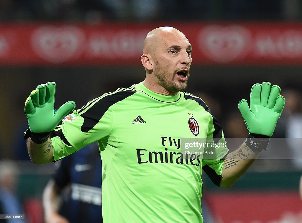 <a gi-track='captionPersonalityLinkClicked' href=/galleries/search?phrase=Christian+Abbiati&family=editorial&specificpeople=2158791 ng-click='$event.stopPropagation()'>Christian Abbiati</a> of AC Milan during the Serie A match between AC Milan and FC Internazionale Milano at Stadio Giuseppe Meazza on May 4, 2014 in Milan, Italy.