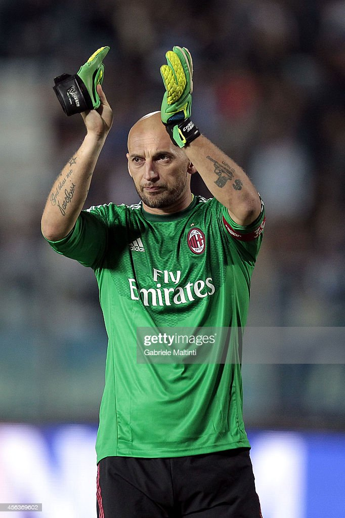 <a gi-track='captionPersonalityLinkClicked' href=/galleries/search?phrase=Christian+Abbiati&family=editorial&specificpeople=2158791 ng-click='$event.stopPropagation()'>Christian Abbiati</a> of AC Milan during the Serie A match between Empoli FC and AC Milan at Stadio Carlo Castellani on September 23, 2014 in Empoli, Italy.