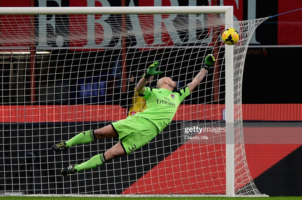 <a gi-track='captionPersonalityLinkClicked' href=/galleries/search?phrase=Christian+Abbiati&family=editorial&specificpeople=2158791 ng-click='$event.stopPropagation()'>Christian Abbiati</a> of AC Milan in action during the Serie A match between AC Milan and Bologna FC at San Siro Stadium on February 14, 2014 in Milan, Italy.
