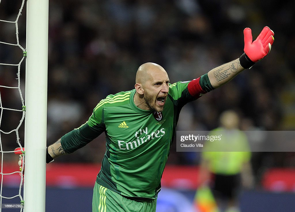 <a gi-track='captionPersonalityLinkClicked' href=/galleries/search?phrase=Christian+Abbiati&family=editorial&specificpeople=2158791 ng-click='$event.stopPropagation()'>Christian Abbiati</a> of AC Milan reacts during the Serie A match between AC Milan and SSC Napoli at San Siro Stadium on April 14, 2013 in Milan, Italy.