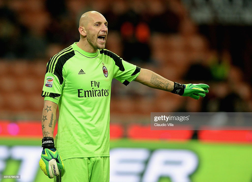<a gi-track='captionPersonalityLinkClicked' href=/galleries/search?phrase=Christian+Abbiati&family=editorial&specificpeople=2158791 ng-click='$event.stopPropagation()'>Christian Abbiati</a> of AC Milan reacts during the Serie A match between AC Milan and Genoa CFC at Stadio Giuseppe Meazza on November 23, 2013 in Milan, Italy.