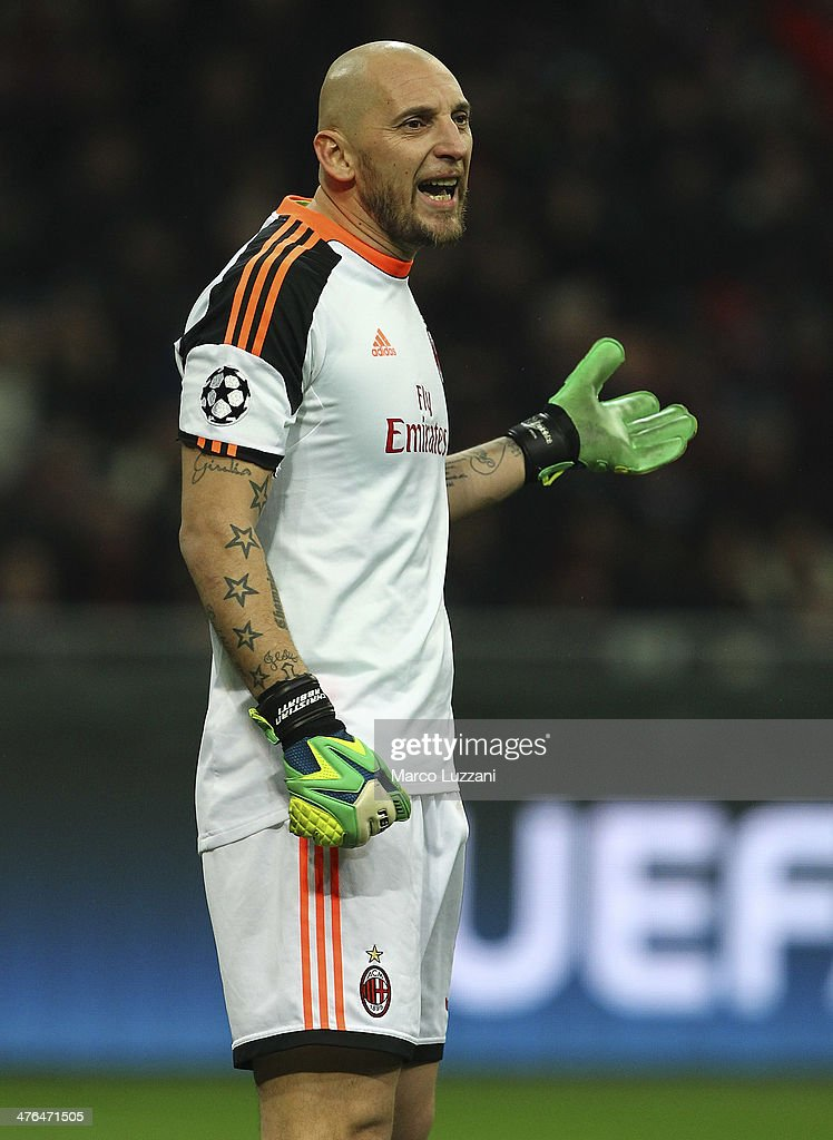 <a gi-track='captionPersonalityLinkClicked' href=/galleries/search?phrase=Christian+Abbiati&family=editorial&specificpeople=2158791 ng-click='$event.stopPropagation()'>Christian Abbiati</a> of AC Milan shouts to his team-mates during the UEFA Champions League Round of 16 match between AC Milan and Club Atletico de Madrid at Stadio Giuseppe Meazza on February 19, 2014 in Milan, Italy.