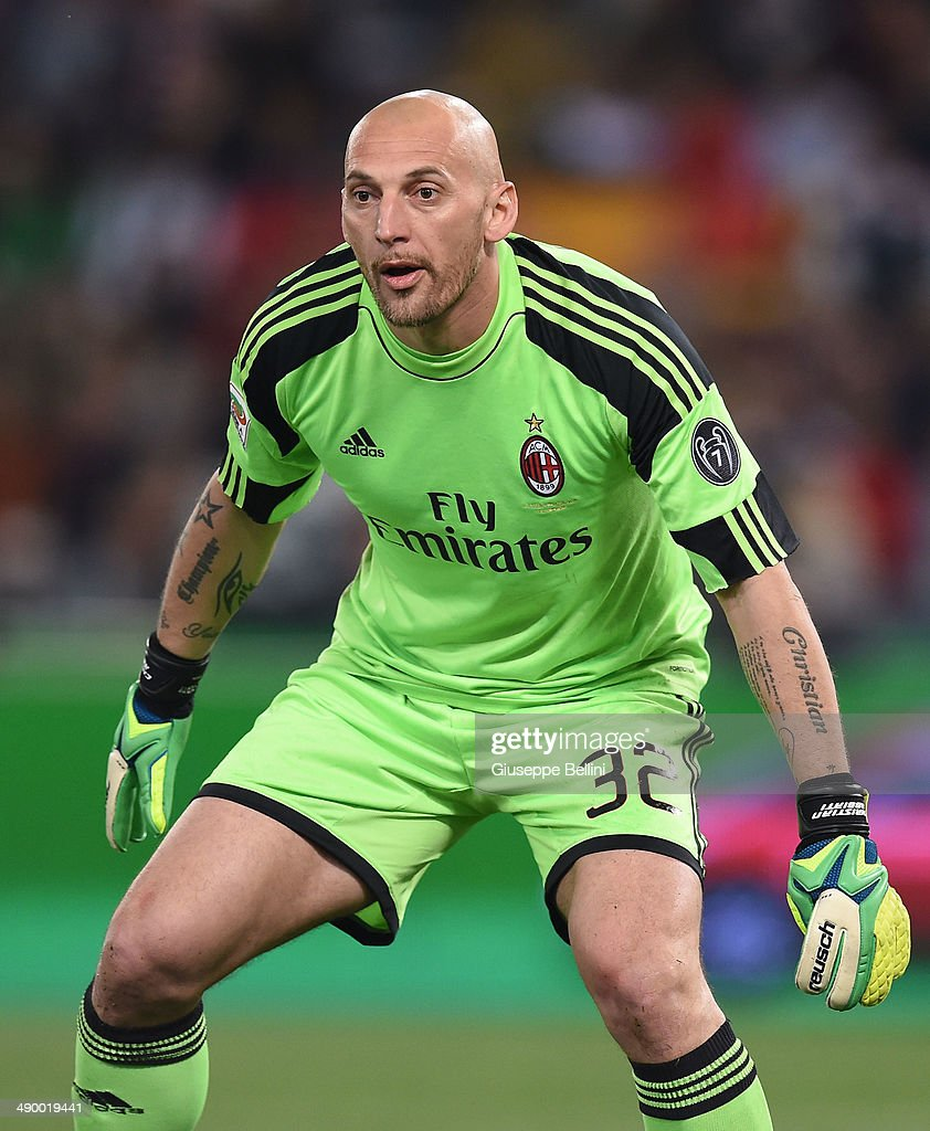 <a gi-track='captionPersonalityLinkClicked' href=/galleries/search?phrase=Christian+Abbiati&family=editorial&specificpeople=2158791 ng-click='$event.stopPropagation()'>Christian Abbiati</a> of Milan during the Serie A match between AS Roma and AC Milan at Stadio Olimpico on April 25, 2014 in Rome, Italy.