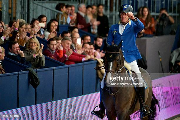Christian Ahlmann competes during the Madrid Horse Week 2015 at IFEMA on November 29 2015 in Madrid Spain
