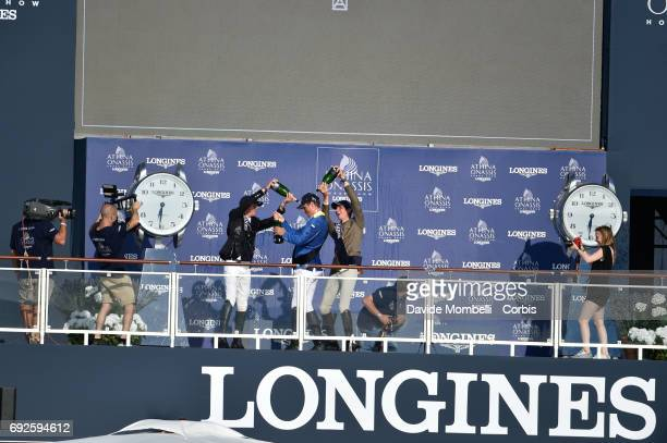 Christian Ahlmann of Germany celebrates on the podium after the Longines Grand Prix Athina Onassis Horse Show St Tropez on June 3 2017 in St Tropez...