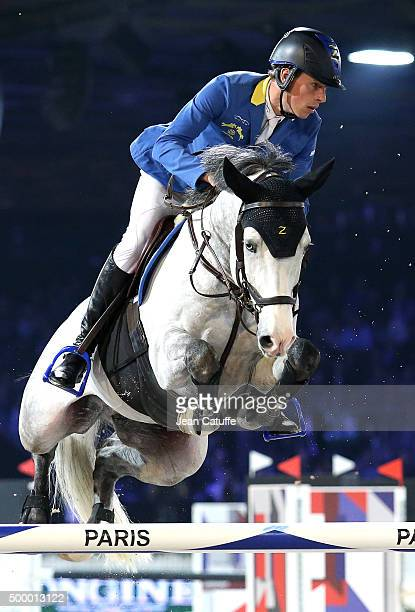 Christian Ahlmann of Germany competes in the Longines Speed Challenge show jumping event on day two of the Longines Paris Masters 2015 held at the...